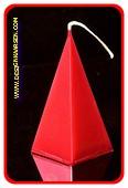 5 eckige Pyramide Kerze, ROT METALLIC, höhe: 11 cm