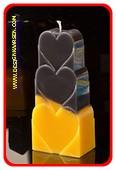 Herzen Kerze, GELB SCHWARZ, höhe: 18 cm