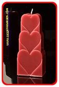 Herzen Kerze, BORDEAUX ROT, höhe: 18 cm
