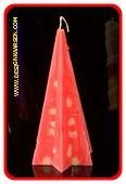 Ster Piramide kaars, ROOD MET GELE BROKJES, hoogte: 20 cm