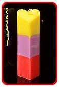 Herzenkerze GELB-LILAC-ROT, höhte: 18 cm