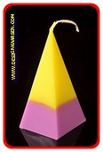 5 eckige Pyramide Kerze, GELB-LILA, höhe: 11 cm