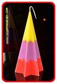 Ster Piramide kaars, GEEL-LILA-ROOD, hoogte: 20 cm
