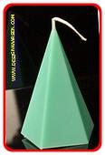 5 kantige Piramide Kaars, MASSIEF GROEN, hoogte 11 cm