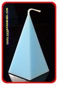 5 kantige Piramide Kaars, LICHT BLAUW, hoogte 11 cm
