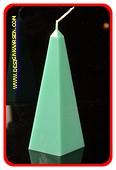 Obelisk Kaars klein MASSIEF GROEN, hoogte: 16 cm