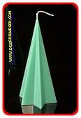 Ster Piramide kaars, MASSIEF GROEN, hoogte: 20 cm