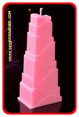 Toren Kaars, GLANS ROZE, hoogte: 21cm
