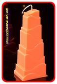 Toren Kaars, GLANS ORANJE, hoogte: 21cm