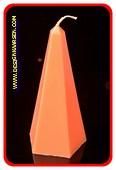 Obelisk Kaars klein GLANS ORANJE, hoogte: 16 cm