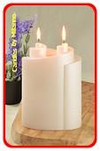 Piaf Kerze, PERL MATT WEISS, höhe: 18 cm 2 Dochten