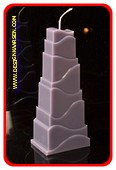 Toren Kaars, MASSIEF GRIJS, hoogte: 21cm