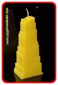 Toren Kaars, MASSIEF GEEL, hoogte: 21cm