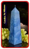 Obelisk Kaars XXL BLAUW POLYMICO, hoogte: 24 cm