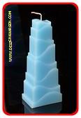 Toren Kaars, MASSIEF LICHT BLAUW, hoogte: 21cm