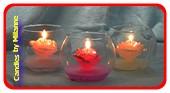 Set met 3  Prachtige bloemen figuurkaarsen in glas