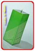 Kwadrant kaars, GROEN METALLIC, hoogte 16 cm