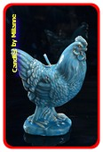 Haan Kaars blauw/groen, H: 12 cm