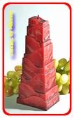 Toren Kaars, BORDEAUX ROOD POLYMICO, hoogte: 21cm