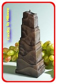 Toren Kaars, ZWART POLYMICO, hoogte: 21cm