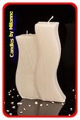 Design kaars mat wit met 2 pitten, H: 18cm B:11 cm