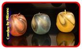 3x Apfel Kerze, H: 8 cm