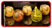 4x appelvorm + 1x peervorm  kaarsen modern, hoogte: 8cm
