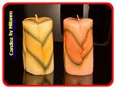 2x ronde kaarsen modern, hoogte: 12cm