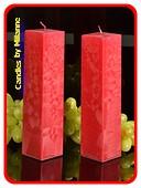 Kwadrant kaarsen ROOD POLYMICO, hoogte 22 cm, 2 STUKS
