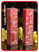 Kwadrant kaarsen BORDEAUX ROOD POLYMICO, h: 22 cm, 2 STUKS