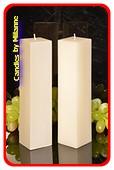 Kwadrant kaarsen, PERL MAT WIT, hoogte 22 cm, 2 STUKS