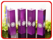 Kwadrant kaarsen, LILA METALLIC - AP, hoogte 22 cm, 2 STUKS