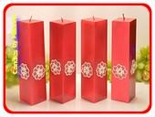 Kwadrant kaarsen, ROOD METALLIC AP, hoogte 22 cm, 4 STUKS