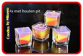 4x Tri Colore+ Wooden Wick KAARSEN  vierkant glas 6x6x6 cm