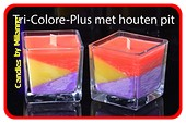 TRI-COLORE+ Wood-Wick kaars in VIERKANT glas MEDIUM, 2 STUKS