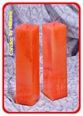 Kwadrant kaars, ORANJE Explosion, hoogte 22 cm - 2 STUKS