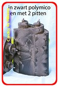Piaf Kaars met 2 pitten, ZWART POLYMICO, hoogte: 18 cm
