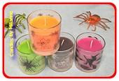 4 verschillende HALLOWEEN kaarsen in glas (nep spin gratis)