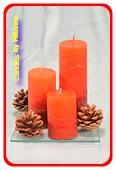 Weihnachtsgeschenkset mit 3 ROTEN Kerzen und Tannenzapfen