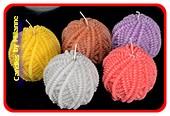 Bolletje Wol kaars (set van 5 verschillende kleuren)