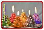 6 stuks verschillende handgemaakte Kerstboom kaarsen