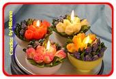 4x Schaaltje met tulpen en blauwe druifjes, Kaars