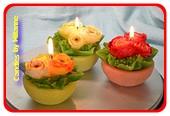 Set van 3 stuks bloemenkaars in pot