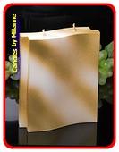 Adamo Kaars, 2 pitten, Perl Mat Wit en GOUD Metallic H:17 cm
