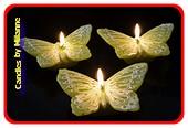 Vlinder figuur kaars in zacht groen, 3 stuks in geschenkdoos