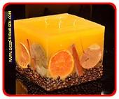 Fruit Kaars Vierkant Groot GEEL, 4 PITTEN, H:11,5 cm