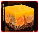Fruit Kaars Vierkant Groot GEEL, 4 PITTEN, XXL