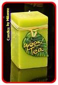 Grune Tee Kerze, Quadro, H: 12 cm