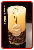 Kaffee Kerze, Rund Weiss, H: 14 cm