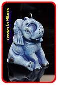 Elefant Kerze BLAU H: 11 cm